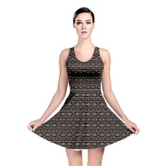 Tribal Dark Geometric Pattern03 Reversible Skater Dress