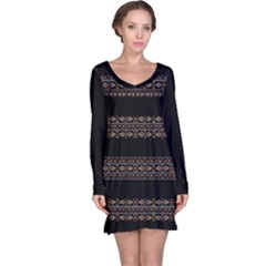 Tribal Dark Geometric Pattern03 Long Sleeve Nightdress