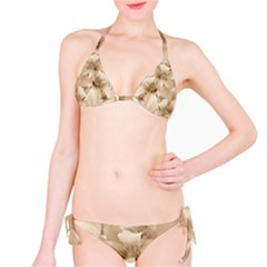 Elegant Floral Pattern in Light Beige Tones Bikini