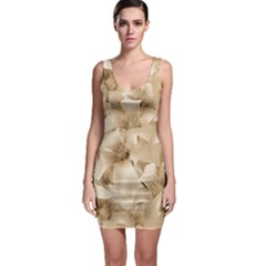 Elegant Floral Pattern in Light Beige Tones Bodycon Dress