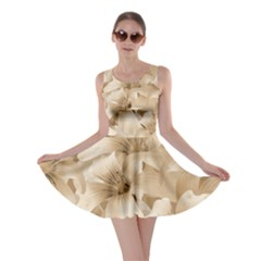 Elegant Floral Pattern In Light Beige Tones Skater Dress