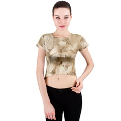 Elegant Floral Pattern In Light Beige Tones Crew Neck Crop Top
