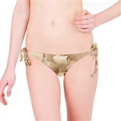 Elegant Floral Pattern in Light Beige Tones Bikini Bottom