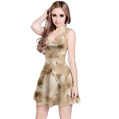 Elegant Floral Pattern in Light Beige Tones Sleeveless Dress