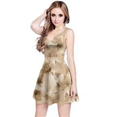 Elegant Floral Pattern In Light Beige Tones Sleeveless Dress