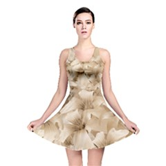 Elegant Floral Pattern In Light Beige Tones Reversible Skater Dress