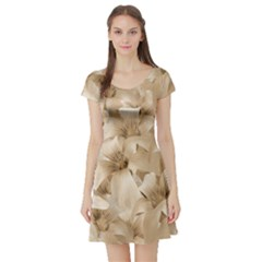 Elegant Floral Pattern in Light Beige Tones Short Sleeved Skater Dress