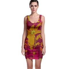 Tropical Hawaiian Style Lilies Collage Bodycon Dress