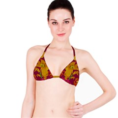 Tropical Hawaiian Style Lilies Collage Bikini Top