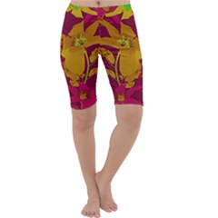 Tropical Hawaiian Style Lilies Collage Cropped Leggings