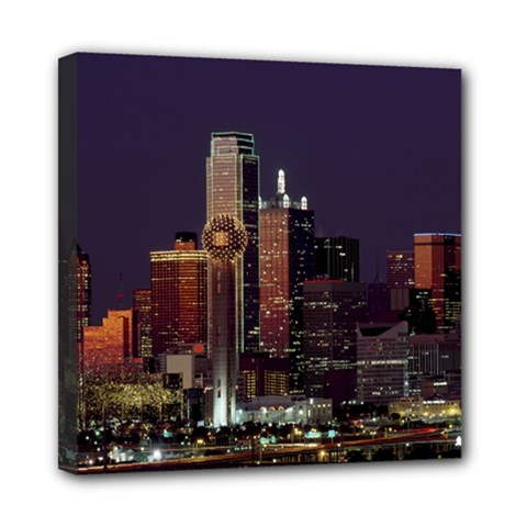 Dallas Skyline At Night Mini Canvas 8  X 8  (framed)
