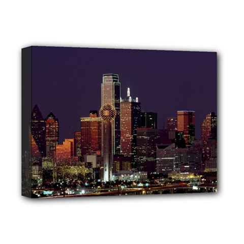 Dallas Skyline At Night Deluxe Canvas 16  X 12  (framed)