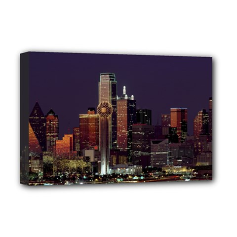 Dallas Skyline At Night Deluxe Canvas 18  X 12  (framed)