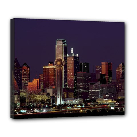 Dallas Skyline At Night Deluxe Canvas 24  X 20  (framed)