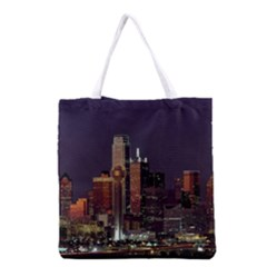Dallas Skyline At Night Grocery Tote Bag