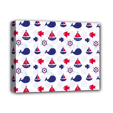 Nautical Sea Pattern Deluxe Canvas 14  x 11  (Framed)