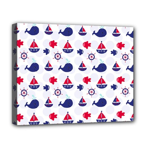Nautical Sea Pattern Deluxe Canvas 20  X 16  (framed)