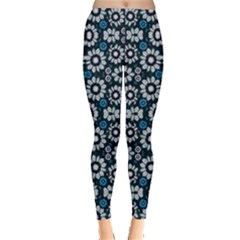 Floral Print Seamless Pattern In Cold Tones Leggings