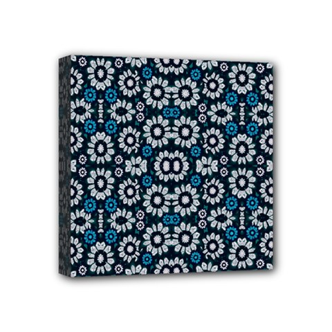 Floral Print Seamless Pattern In Cold Tones  Mini Canvas 4  X 4  (framed)