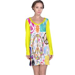 Peace Collage Long Sleeve Nightdress