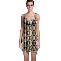 Geometric Tribal Style Pattern in Brown Colors Bodycon Dress