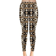 Geometric Tribal Style Pattern in Brown Colors Leggings