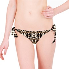 Geometric Tribal Style Pattern in Brown Colors Bikini Bottom