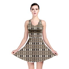 Geometric Tribal Style Pattern in Brown Colors Reversible Skater Dress