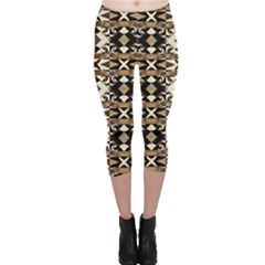 Geometric Tribal Style Pattern In Brown Colors Capri Leggings