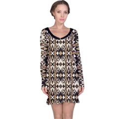 Geometric Tribal Style Pattern in Brown Colors Long Sleeve Nightdress