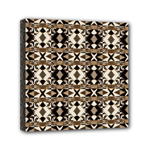 Geometric Tribal Style Pattern In Brown Colors Scarf Mini Canvas 6  X 6  (framed)