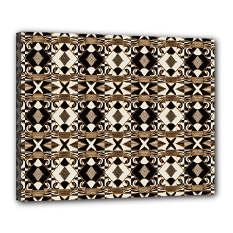 Geometric Tribal Style Pattern In Brown Colors Scarf Canvas 20  X 16  (framed)