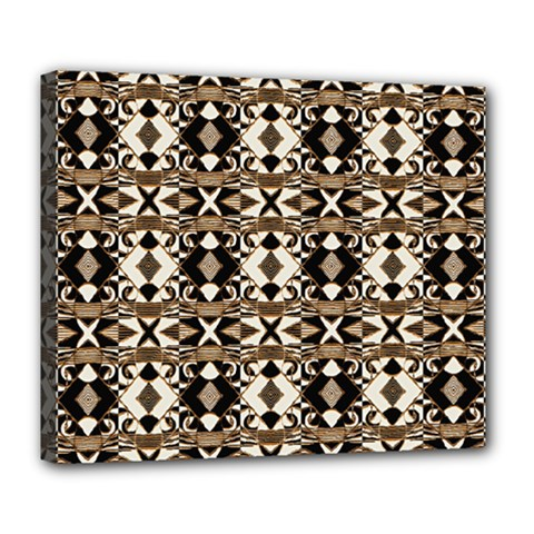 Geometric Tribal Style Pattern In Brown Colors Scarf Deluxe Canvas 24  X 20  (framed)