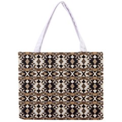 Geometric Tribal Style Pattern in Brown Colors Scarf Tiny Tote Bag