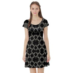 Geometric Abstract Pattern Futuristic Design Short Sleeved Skater Dress