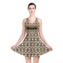 Baroque Ornament Pattern Print Reversible Skater Dress