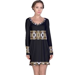 Baroque Ornament Pattern Print Long Sleeve Nightdress