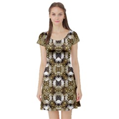 Baroque Ornament Pattern Print Short Sleeved Skater Dress