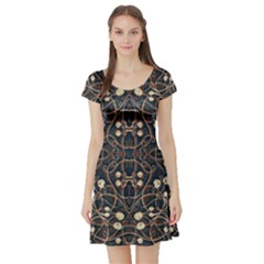 Victorian Style Grunge Pattern Short Sleeved Skater Dress