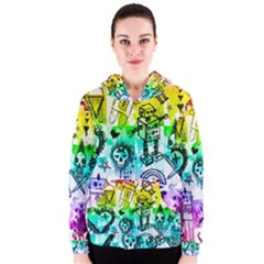 Rainbow Scene Kid Sketches Women s Zipper Hoodie
