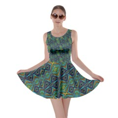 Tribal Style Colorful Geometric Pattern Skater Dress