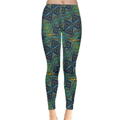 Tribal Style Colorful Geometric Pattern Leggings