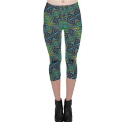 Tribal Style Colorful Geometric Pattern Capri Leggings