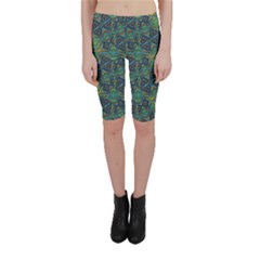 Tribal Style Colorful Geometric Pattern Cropped Leggings
