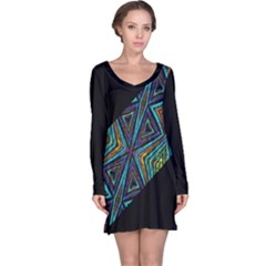 Tribal Sharp Print Long Sleeve Nightdress