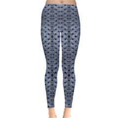 Futuristic Grid Pattern Design Print in Blue Tones Leggings