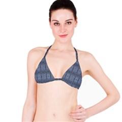 Futuristic Grid Pattern Design Print in Blue Tones Bikini Top