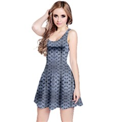 Futuristic Grid Pattern Design Print in Blue Tones Sleeveless Dress