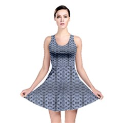 Futuristic Grid Pattern Design Print in Blue Tones Reversible Skater Dress
