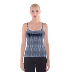 Futuristic Grid Pattern Design Print in Blue Tones Spaghetti Strap Top